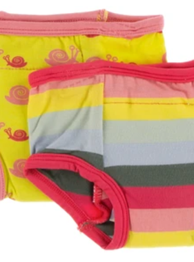 Kickee Pants Training Pants Set in Banana Snails & Biology Stripe