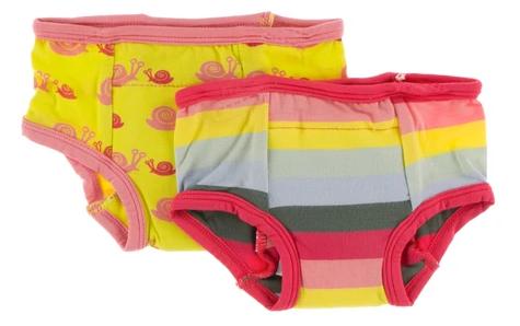 Kickee Pants Training Pants Set in Banana Snails & Biology Stripe
