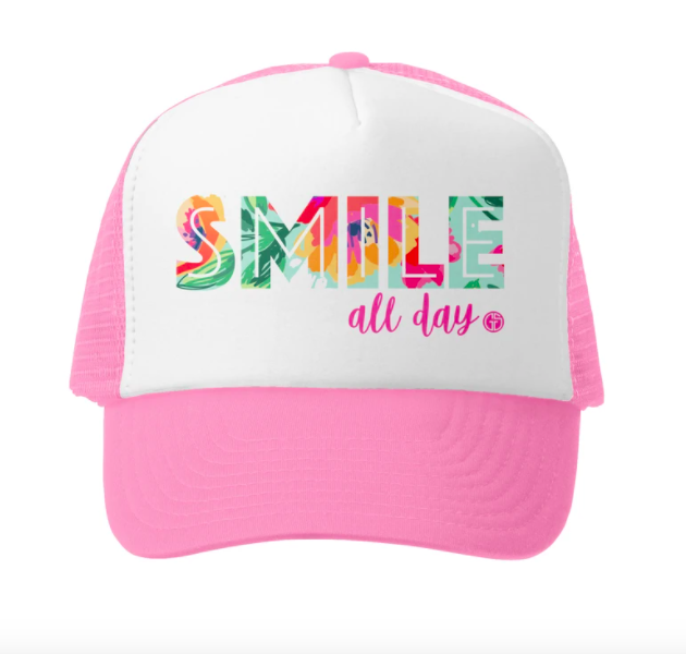 Grom Squad Smile All Day Trucker Hat, Pink/Wht