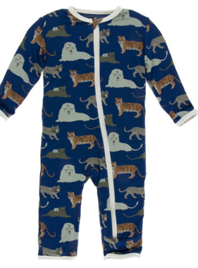 Kickee Pants Coverall with Zipper-Flag Blue Big Cats
