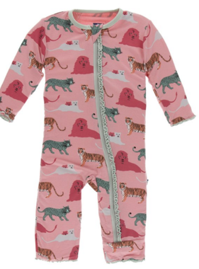 Kickee Pants Muffin Ruffle Coverall Zipper Strawberry Big Cats