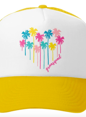 Grom Squad Palm Heart Trucker Hat, Yellow/Wht