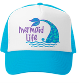 Grom Squad Mermaid Life Trucker Hat, Aqua/Wht