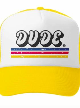 Grom Squad Dude Trucker Hat, Yellow/White