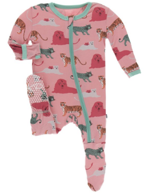 Kickee Pants Print Footie with Zipper Strawberry Big Cats