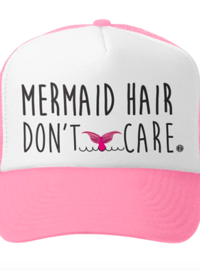 Grom Squad Mermaid Hair Don't Care Pink/White Trucker Hat
