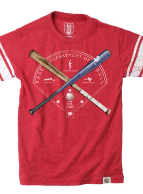 Wes And Willy Baseball Sleeve Stripe Tee-Cherry