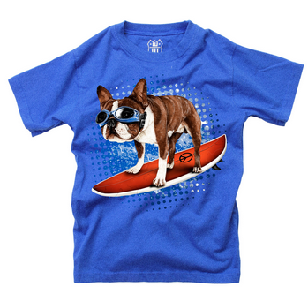 Wes And Willy Surfer Dog S/S T- Blue