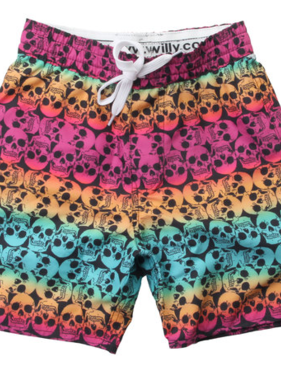 Wes And Willy Ombre Skull Swim Trunk-Black