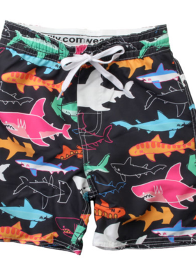 Wes And Willy Neon Sharks Trunk-Black