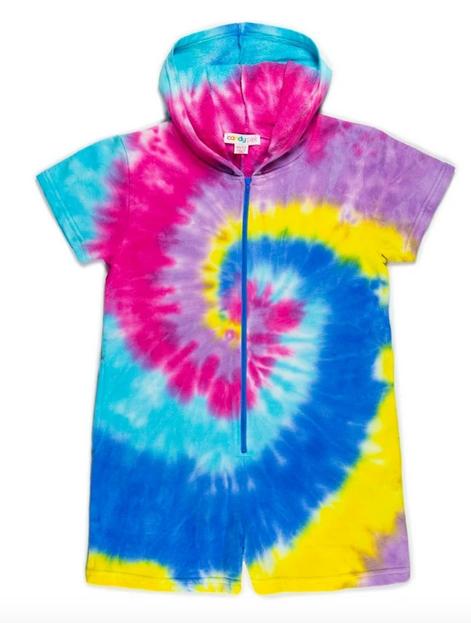Candy Pink Rainbow Swirl Romper-Multi