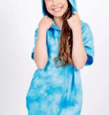 Candy Pink Romper-Blue Tie Dye