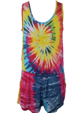 Flowers By Zoe ROMPER  MULTY BRITE TIE DYE