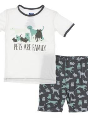 Kickee Pants S/S Short PJ Set-Natural Domestic Animals