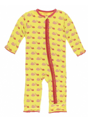 Kickee Pants Muffin Ruffle Coverall Zipper Banana Snail