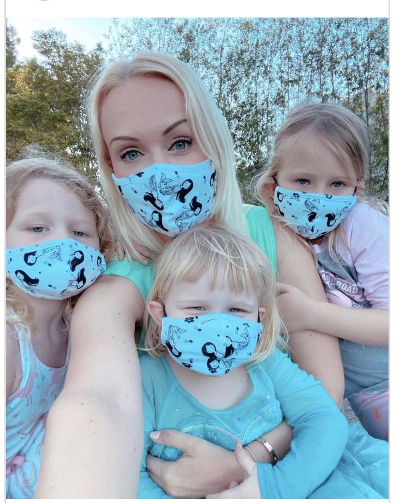 Face Mask PKP Kids Face Mask Confetti Love-Baby Blue