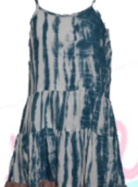 KB2771 Print Tiered Dress, Blue/Brown