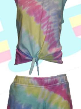 KOD371362 Tie Dye Tank/Short Set, Coral/Yell/Turq