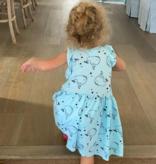 Pink Peony 4214 Ruffle Slv Dress-Blue Whale
