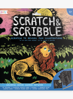 Ooly 161-029 Scratch & Scribble Art Kits: Colorful Safari