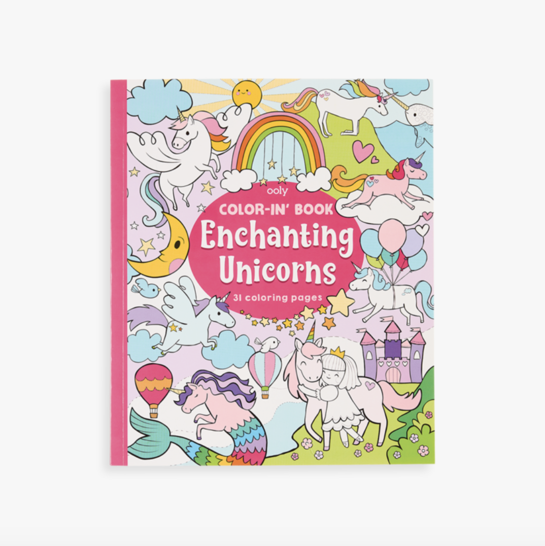 Ooly 118-202 Color-in Book: Enchanting Unicorns