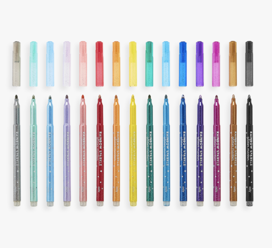 Ooly 130-063 Rainbow Sparkle Glitter Markers-Set of 15