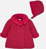 Mayoral 2407 85 Knit Coat w/ Hood, Cherry