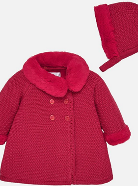 Mayoral 2407 85 Knit Coat w/ Hood, Cherry