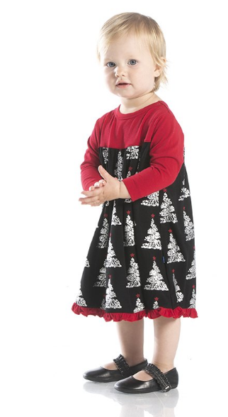 Kickee Pants Print Classic LS Swing Dress Midnight Foil Tree