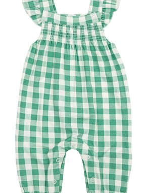 Angel Dear 181F0GRG Green Gingham Smocked Coverall