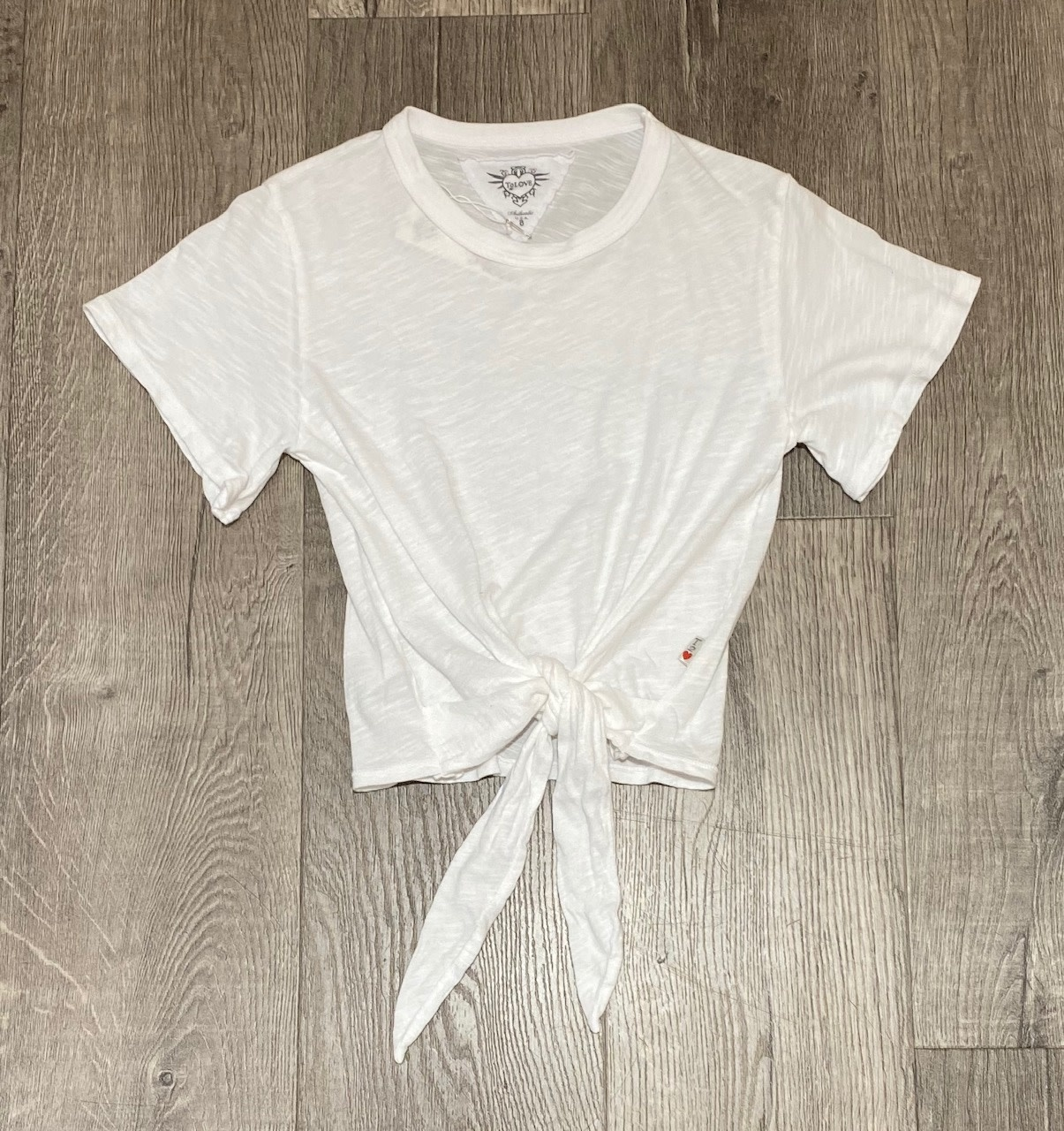 T2Love T1783S Wide Sleeve Tie Front Tee Wht