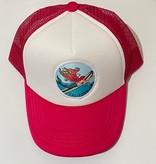 Patch Trucker Hat Surfing Mermaid, Magenta