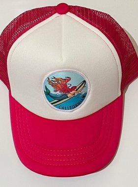 Cam & Co Patch Trucker Hat Surfing Mermaid, Magenta