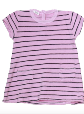 Cozii S/S TWO PKT DRESS PINK NAVY STRIPE CB621HP