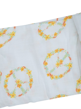 Angel Dear 157F0PEA Flower Peace Swaddle Blanket