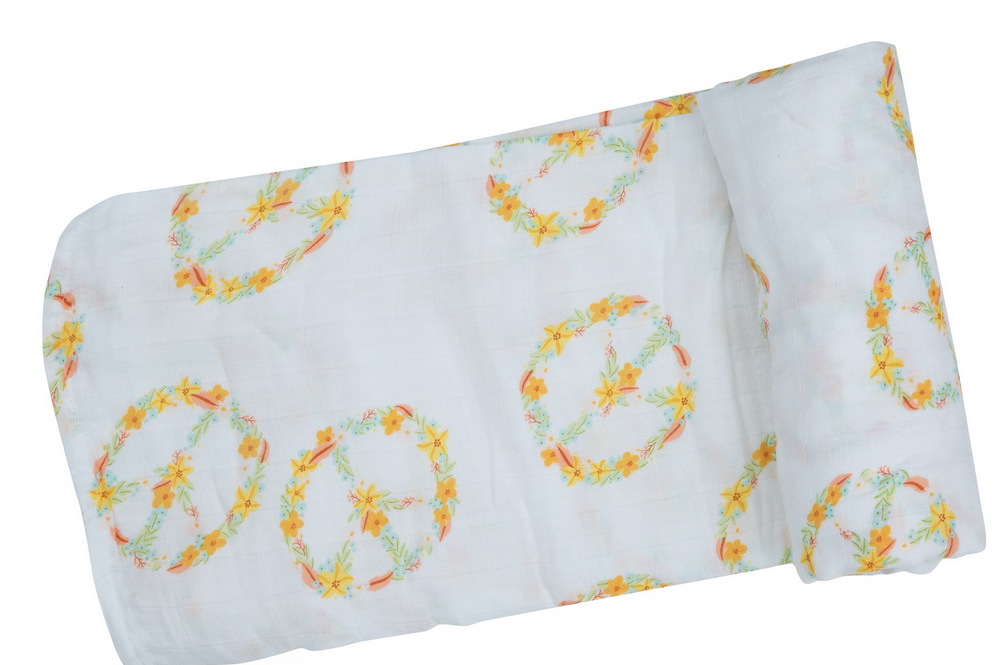Angel Dear 157F0PEA Flower Peace Swaddle Blanket