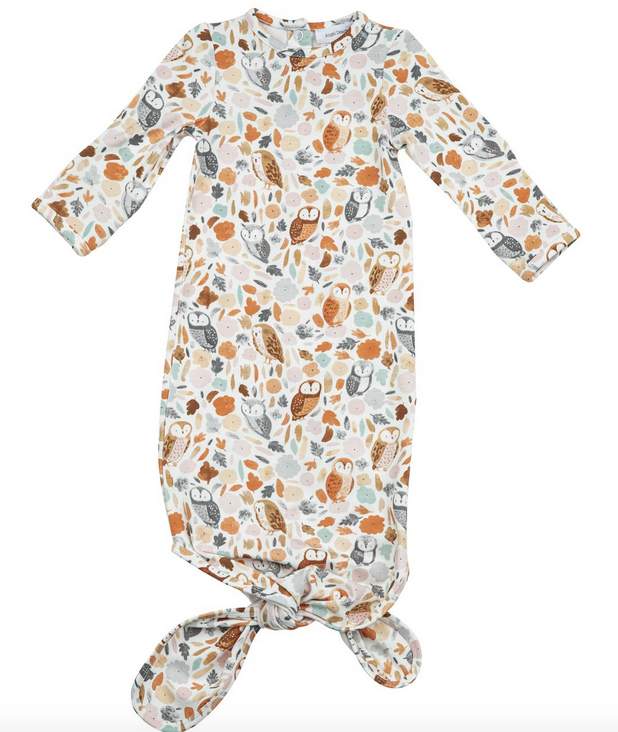 Angel Dear 127F0OWL1  Autumn Owls Knotted Gown 0-3M