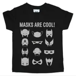 Kid Crush Masks Are Cool S/S Tee-Black/Silver
