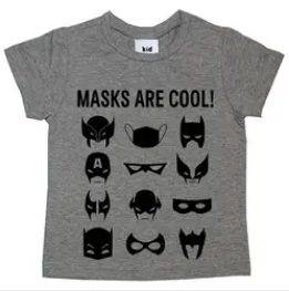 Kid Crush Masks Are Cool S/S Tee-Grey/Black