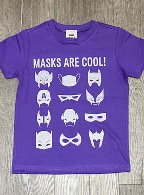 Kid Crush Masks Are Cool S/S Tee-Purple/Silver