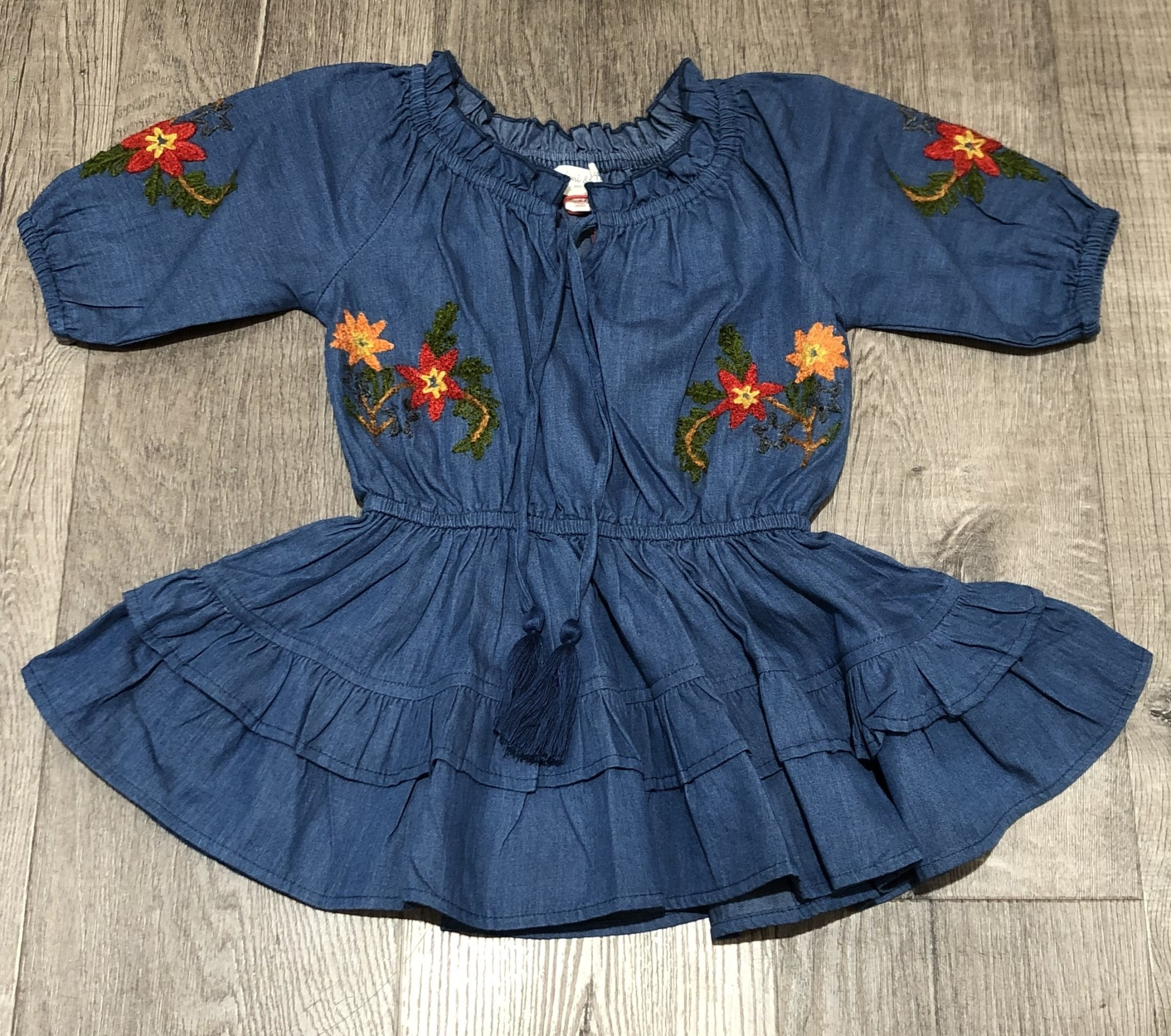 Mimi & Maggie 80257 Little Peasant Denim Dress Indigo
