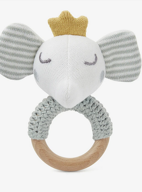 Elegant Baby 25413 Sage Elephant Ring Rattle