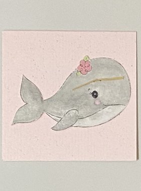Greeting Cards Enclosure Card - Pink Whale