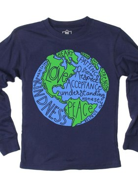 Wes And Willy 7673 World Peace LS Tee Midnight