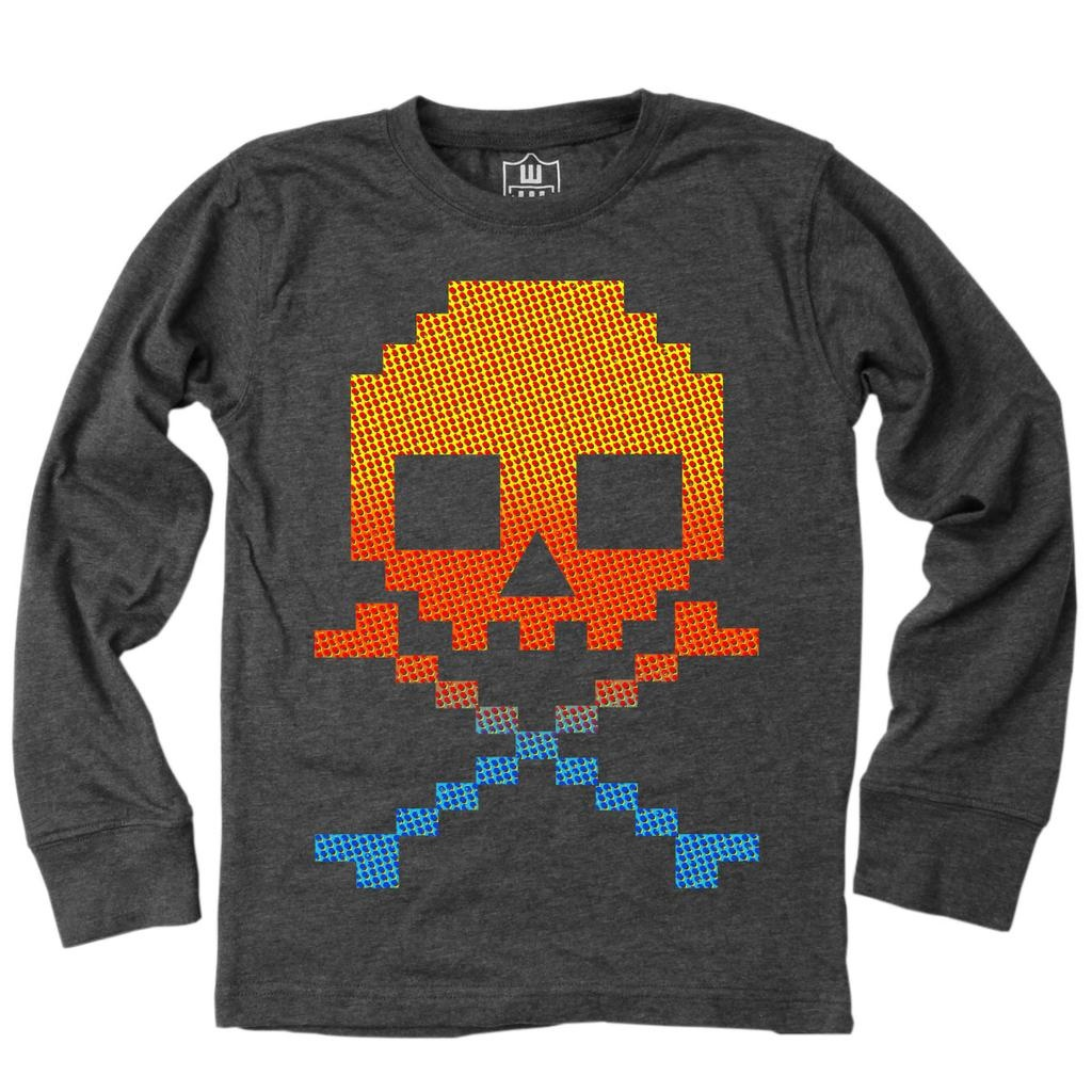 Wes And Willy 7674 Retro Skull LS Tee Black BLEND