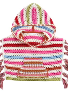 Mimi & Maggie 5232-MLT Rainbow Crochet Stripe Poncho, Multi
