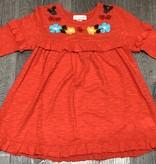 Mimi & Maggie 6714-ORG Ruffle Tee Emb. Dress, Organge