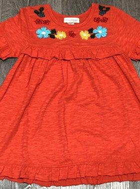 Mimi & Maggie 6714-ORG Ruffle Tee Emb. Dress, Orange