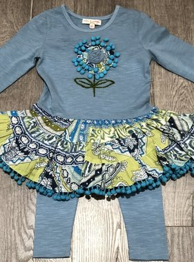 Mimi & Maggie 80137-BLU Maddy Dress/Knit Legging Set, Blue