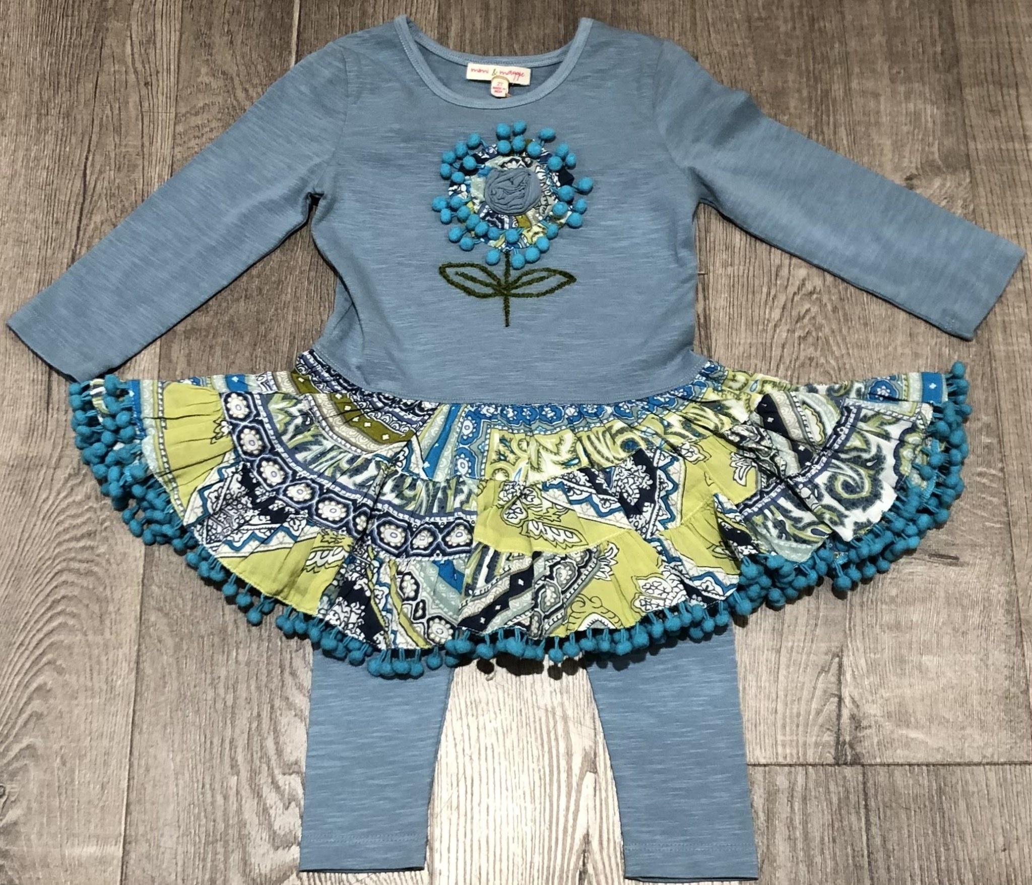 Mimi & Maggie 80137-BLU Maddy Dress/Knit Legging Set, Blue